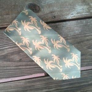 Tommy Banana Off Island Palm Tree 100% Silk Tie